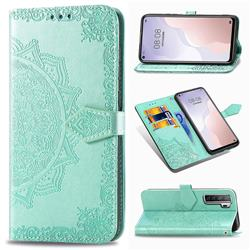 Embossing Imprint Mandala Flower Leather Wallet Case for Huawei nova 7 SE - Green