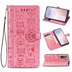 Embossing Dog Paw Kitten and Puppy Leather Wallet Case for Huawei nova 7 SE - Pink