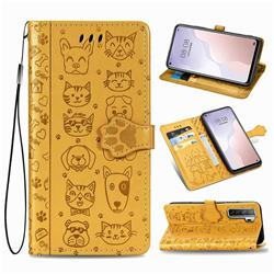 Embossing Dog Paw Kitten and Puppy Leather Wallet Case for Huawei nova 7 SE - Yellow