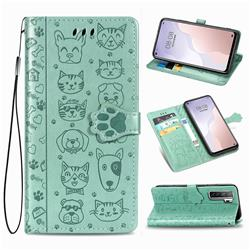 Embossing Dog Paw Kitten and Puppy Leather Wallet Case for Huawei nova 7 SE - Green