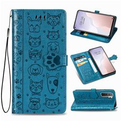 Embossing Dog Paw Kitten and Puppy Leather Wallet Case for Huawei nova 7 SE - Blue