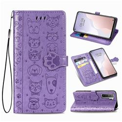 Embossing Dog Paw Kitten and Puppy Leather Wallet Case for Huawei nova 7 SE - Purple