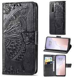 Embossing Mandala Flower Butterfly Leather Wallet Case for Huawei nova 7 SE - Black
