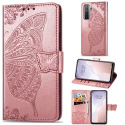 Embossing Mandala Flower Butterfly Leather Wallet Case for Huawei nova 7 SE - Rose Gold