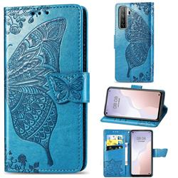 Embossing Mandala Flower Butterfly Leather Wallet Case for Huawei nova 7 SE - Blue