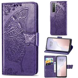 Embossing Mandala Flower Butterfly Leather Wallet Case for Huawei nova 7 SE - Dark Purple