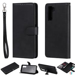 Retro Greek Detachable Magnetic PU Leather Wallet Phone Case for Huawei nova 7 SE - Black