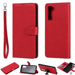 Retro Greek Detachable Magnetic PU Leather Wallet Phone Case for Huawei nova 7 SE - Red