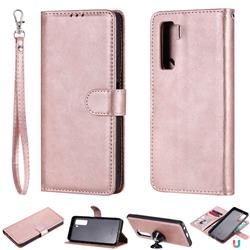 Retro Greek Detachable Magnetic PU Leather Wallet Phone Case for Huawei nova 7 SE - Rose Gold