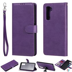 Retro Greek Detachable Magnetic PU Leather Wallet Phone Case for Huawei nova 7 SE - Purple