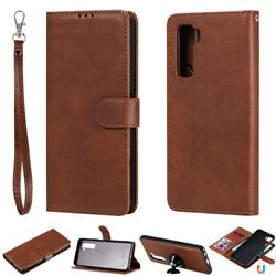Retro Greek Detachable Magnetic PU Leather Wallet Phone Case for Huawei nova 7 SE - Brown