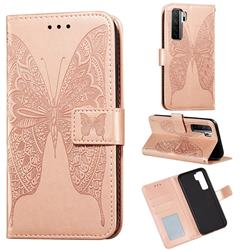 Intricate Embossing Vivid Butterfly Leather Wallet Case for Huawei nova 7 SE - Rose Gold