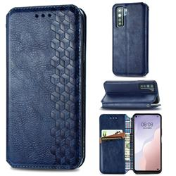 Ultra Slim Fashion Business Card Magnetic Automatic Suction Leather Flip Cover for Huawei nova 7 SE - Dark Blue
