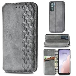 Ultra Slim Fashion Business Card Magnetic Automatic Suction Leather Flip Cover for Huawei nova 7 SE - Grey