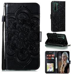 Intricate Embossing Datura Solar Leather Wallet Case for Huawei nova 7 SE - Black