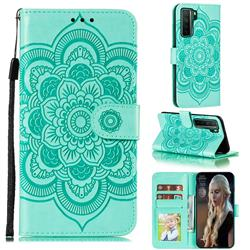 Intricate Embossing Datura Solar Leather Wallet Case for Huawei nova 7 SE - Green