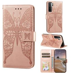 Intricate Embossing Rose Flower Butterfly Leather Wallet Case for Huawei nova 7 SE - Rose Gold