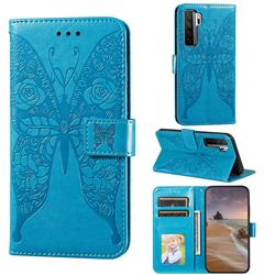 Intricate Embossing Rose Flower Butterfly Leather Wallet Case for Huawei nova 7 SE - Blue