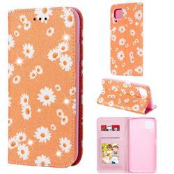 Ultra Slim Daisy Sparkle Glitter Powder Magnetic Leather Wallet Case for Huawei nova 7i - Orange