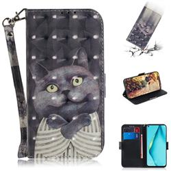 Cat Embrace 3D Painted Leather Wallet Phone Case for Huawei nova 7i