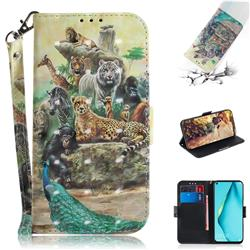 Beast Zoo 3D Painted Leather Wallet Phone Case for Huawei nova 7i
