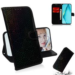 Laser Circle Shining Leather Wallet Phone Case for Huawei nova 7i - Black