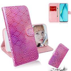 Laser Circle Shining Leather Wallet Phone Case for Huawei nova 7i - Pink
