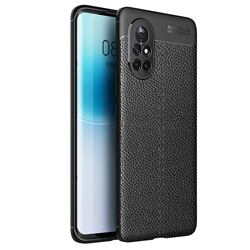 Luxury Auto Focus Litchi Texture Silicone TPU Back Cover for Huawei nova 8 - Black