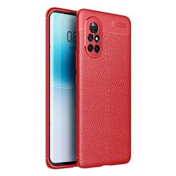 Luxury Auto Focus Litchi Texture Silicone TPU Back Cover for Huawei nova 8 - Red