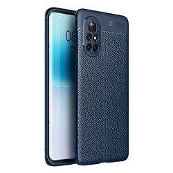 Luxury Auto Focus Litchi Texture Silicone TPU Back Cover for Huawei nova 8 - Dark Blue