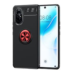 Auto Focus Invisible Ring Holder Soft Phone Case for Huawei nova 8 - Black Red