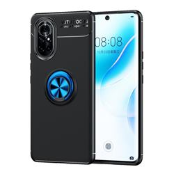 Auto Focus Invisible Ring Holder Soft Phone Case for Huawei nova 8 - Black Blue