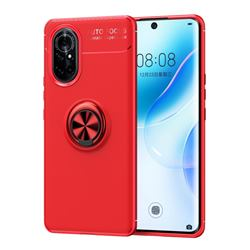 Auto Focus Invisible Ring Holder Soft Phone Case for Huawei nova 8 - Red