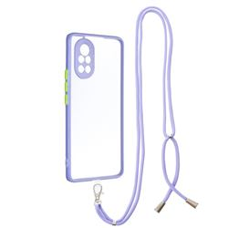 Necklace Cross-body Lanyard Strap Cord Phone Case Cover for Huawei nova 8 - Purple