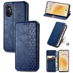 Ultra Slim Fashion Business Card Magnetic Automatic Suction Leather Flip Cover for Huawei nova 8 - Dark Blue