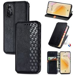Ultra Slim Fashion Business Card Magnetic Automatic Suction Leather Flip Cover for Huawei nova 8 - Black