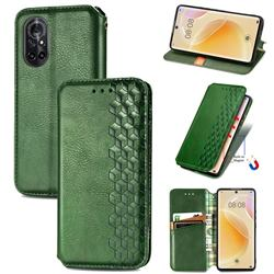 Ultra Slim Fashion Business Card Magnetic Automatic Suction Leather Flip Cover for Huawei nova 8 - Green