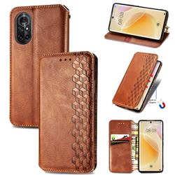 Ultra Slim Fashion Business Card Magnetic Automatic Suction Leather Flip Cover for Huawei nova 8 - Brown