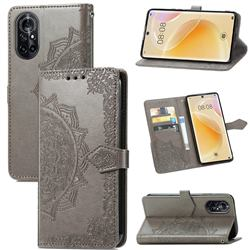 Embossing Imprint Mandala Flower Leather Wallet Case for Huawei nova 8 - Gray