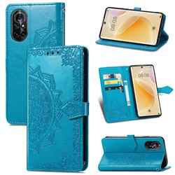 Embossing Imprint Mandala Flower Leather Wallet Case for Huawei nova 8 - Blue