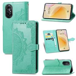 Embossing Imprint Mandala Flower Leather Wallet Case for Huawei nova 8 - Green
