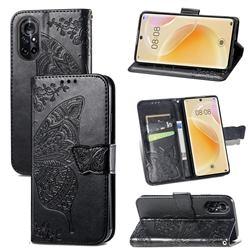 Embossing Mandala Flower Butterfly Leather Wallet Case for Huawei nova 8 - Black