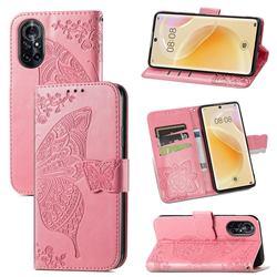 Embossing Mandala Flower Butterfly Leather Wallet Case for Huawei nova 8 - Pink