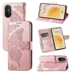 Embossing Mandala Flower Butterfly Leather Wallet Case for Huawei nova 8 - Rose Gold