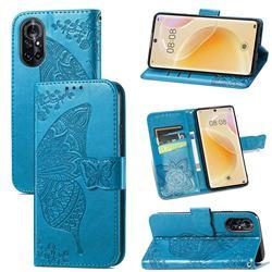 Embossing Mandala Flower Butterfly Leather Wallet Case for Huawei nova 8 - Blue