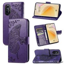 Embossing Mandala Flower Butterfly Leather Wallet Case for Huawei nova 8 - Dark Purple