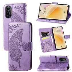 Embossing Mandala Flower Butterfly Leather Wallet Case for Huawei nova 8 - Light Purple