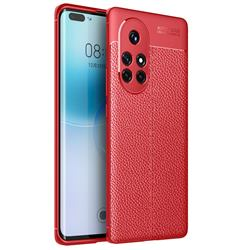 Luxury Auto Focus Litchi Texture Silicone TPU Back Cover for Huawei nova 8 Pro - Red
