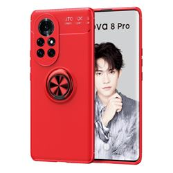 Auto Focus Invisible Ring Holder Soft Phone Case for Huawei nova 8 Pro - Red