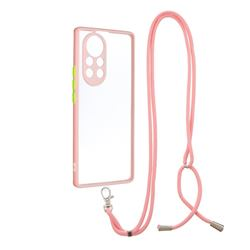 Necklace Cross-body Lanyard Strap Cord Phone Case Cover for Huawei nova 8 Pro - Pink